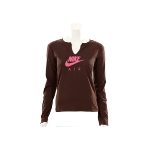 Photo of Nike Active Chocolate Long Sleeved Logo T-Shirt T Shirts Woman