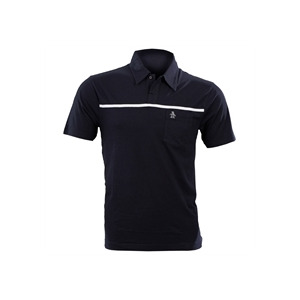 Photo of Navy Penguin Polo Shirt With Single Stripe Tops Man