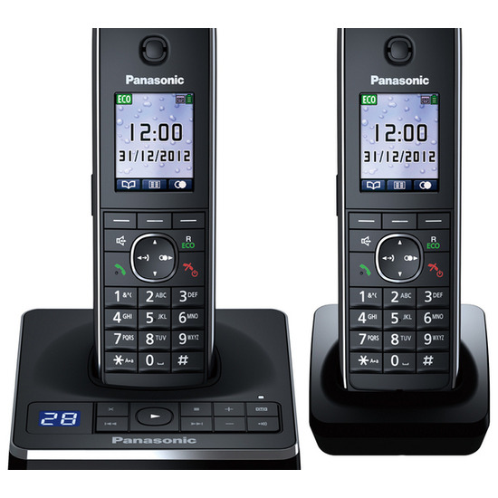 Panasonic KX-TG8562EB Cordless Phone with Answering Machine - Twin Handsets