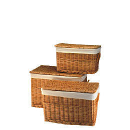 Tesco Set Of 3 Wicker Lidded Baskets Honey Coloured Reviews