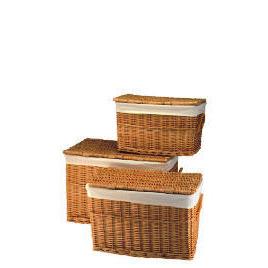 Tesco Set Of 3 Wicker Lidded Baskets Honey Coloured Reviews