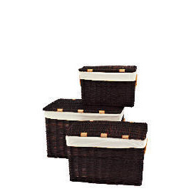 Set Of 3 Wicker Lidded Baskets Chocolate Brown Reviews