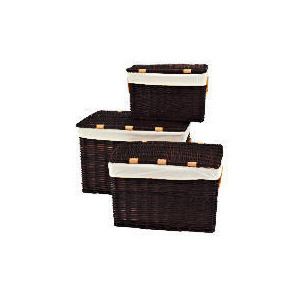 Photo of Set Of 3 Wicker Lidded Baskets Chocolate Brown Household Storage