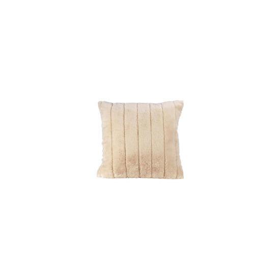 Tesco Ribbed Faux Fur Cushion, Ivory