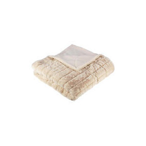 Photo of Tesco Ribbed Faux Fur Throw - Ivory Cushions and Throw
