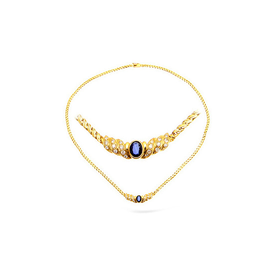 18KY Diamond and Sapphire Necklace 0.50ct 16Inches