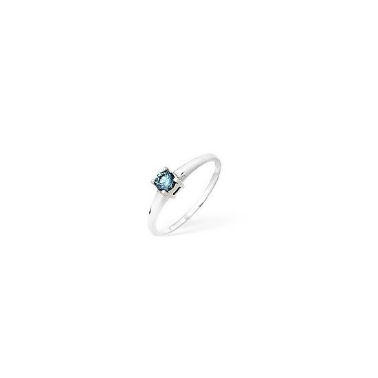 9KW Blue Diamond Single Stone Ring 0.25CT