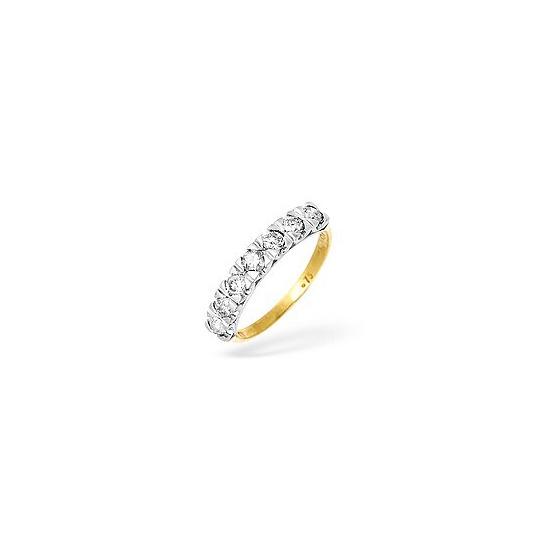 9KY Diamond Half Eternity Ring 0.75CT