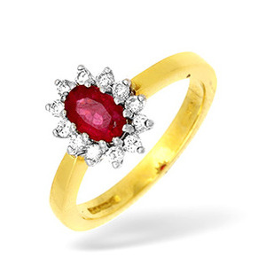 Photo of 18KY Diamond and Ruby Cluster Design Ring 0.25CT Jewellery Woman