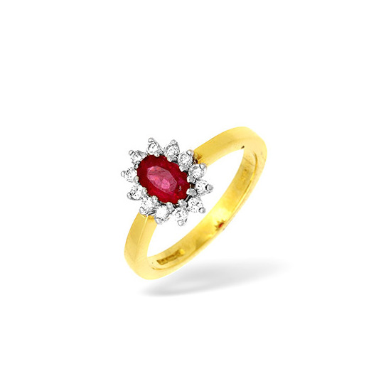 18KY Diamond and Ruby Cluster Design Ring 0.25ct