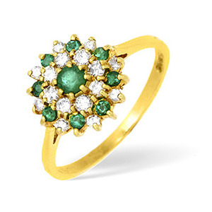Photo of 18KY Diamond and Emerald Flower Cluster Ring 0.33CT Jewellery Woman