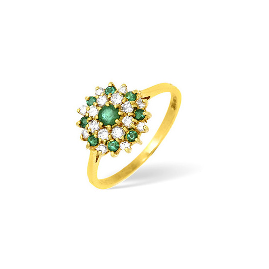 18KY Diamond and Emerald Flower Cluster Ring 0.33CT