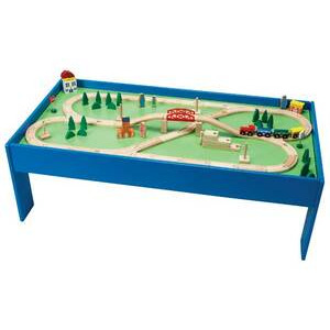 Photo of Chad Valley Wooden Table and 100-Piece Train Toy