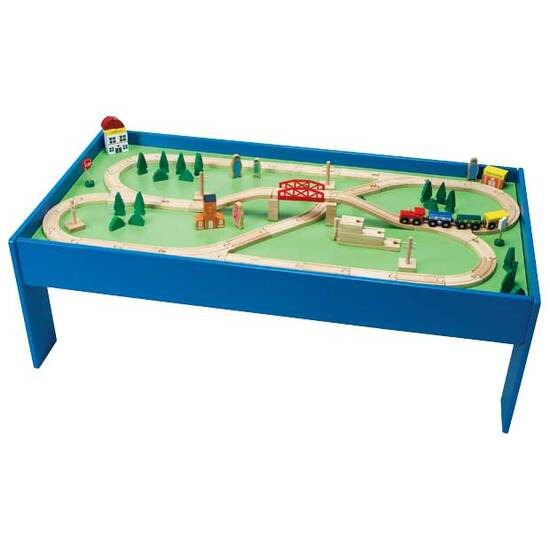 Chad Valley Wooden Table and 100-Piece Train