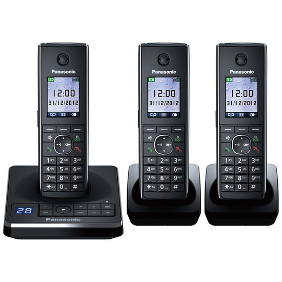 Panasonic KX-TG8563EB Cordless Phone with Answering Machine - Triple Handsets