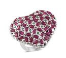 Image of African Ruby (6.25 Ct),Kagem Zambian Emerald Platinum Overlay Sterling Silver Ring  6.780  Ct.