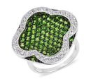 Image of Designer Inspired- AAA Russian Diopside (Rnd), Natural White Cambodian Zircon Ring in Black and Rhodium Overlay Sterling Silver 5.300 Ct, Silver wt 9.56 Gms, Number of Gemstone 133.