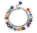 Image of Multi Colour Murano Style Glass (Rnd) Multi Charm Bracelet (Size 7.5 with 1.5 Inch Externder) in Stainless Steel