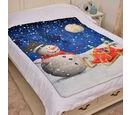 Image of Super Soft Snowman Print Pattern Fleece throw - 200 Gsm -  Size 130x170cm.