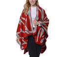 Image of Red and Grey Colour Raised Grain Pattern Blanket Kimono (Size 133x70 Cm)