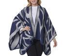 Image of Navy Blue and Grey Colour Raised Grain Pattern Blanket Kimono (Size 133x70 Cm)