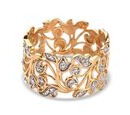 Image of Diamond (Rnd) Leaf Ring in 14K Gold Overlay Sterling Silver
