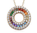 Image of ELANZA Rainbow Simulated Diamond (Rnd) 3 Row Circle Pendant with Chain (Size 18) in 14K Gold Overlay Sterling Silver