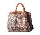 Image of Brown Colour Leopard Pattern Water Resistant Tote Bag (Size 43x20x38 Cm) with Zipper Closure and Detachable Shoulder Strap