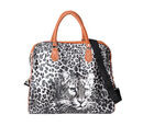 Image of White and Black Colour Leopard Pattern Water ResistantTote Bag (Size 43x20x38 Cm) with Detachable Shoulder Strap