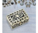 Image of Handmade Bone Inlay Storage Box (Size 15x10x6 Cm) - Black and White