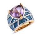 Image of GP Sugar Loaf Cut Amethyst (Trl 12 mm) and Blue Sapphire Enamelled Dome Ring in 14K Gold Overlay Sterling Silver 7.25 Ct, Silver wt 9.00 Gms