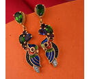 Image of GP Russian Diopside (Pear), Multi Gemstone Earrings (with Push Back) in 14K Gold Overlay Sterling Silver 2.25 Ct, Silver wt 5.43 Gms