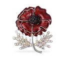 Image of DOD - TJC Poppy Design Black Austrian Crystal (Rnd), Simulated Mystic White Crystal Poppy Flower Enamelled Brooch