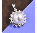Image of J Francis - Crystal from Swarovski Crystal Pearl and White Crystal Pendant in Sterling Silver