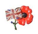 Image of TJC Poppy Design Red and Black Austrian Crystal (Rnd) Enamelled Poppy Flower Brooch