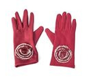 Image of Solid Colour Women Winter Gloves with Rose Shaped Faux Fur on the Wrist (Size 8.9x22.9 Cm) - Wine