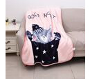 Image of Double Layer Super Soft Kids Flannel Blanket with Kitty - Good Night Pattern and Piping (Size 105x140 Cm)