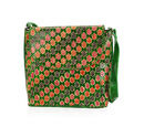 Image of SUKRITI 100% Genuine Leather Floral Pattern Crossbody Bag (Size 28x33x11 Cm) - Green