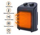 Image of 1000W/2000W Electric Fan Heater with 2 Heat and 1 Cold Speed Setting (Size 25x19x13 Cm) - Black