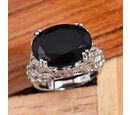 Image of Boi Ploi Black Spinel (Ovl 16x12 mm), Natural Cambodian Zircon Ring in Platinum Overlay Sterling Silver 10.75 Ct, Silver wt 7.35 Gms