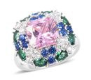 Image of ELANZA Simulated Pink Sapphire (Oct), Simulated Emerald, Simulated Dimaond and Simulated Blue Sapphire Ring in Rhodium Overlay Sterling Silver