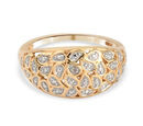 Image of Diamond (Rnd) Dome Ring in Platinum and Yellow Gold Overlay Sterling Silver