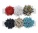 Image of Set of 6 - Multicolour Seed Beads Cluster Stretchable Ring