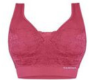 Image of Doorbuster Deal- 3 Piece Set- Sankom Patent Classic Bra With Lace (Size S/M) - Colour Garnet Pink