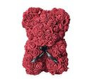 Image of Lovely Rose Foam Flower Bear with Bow Tie - Wine Red