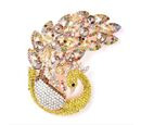 Image of Multicolour Austrian Crystal (Rnd) Peacock Brooch in Gold Tone