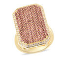 Image of Rhodolite Garnet (Rnd), Simulated Diamond Ring in Yellow Gold Overlay Sterling Silver 2.46 Ct, Silver wt 7.16 Gms