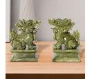 Image of Set of 2 - Handcrafted Jade Decorative Pixiu Figurine (Size 7.5x12 Cm) - Green