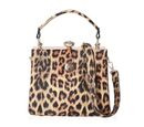Image of Leopard Pattern Tote Bag with Detachable Shoulder Strap (Size 22x14x18 Cm) - Yellow