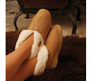 Image of Aran Woollen Mills Adults Suede Boot Slippers (Size: Small) - Tan